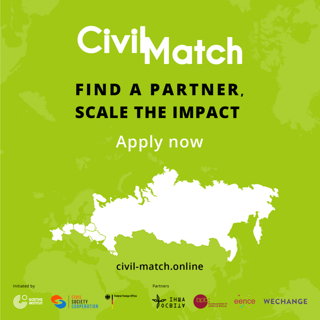 Civil Match: Open Call for the civil-society actors to find international partners and scale the impact